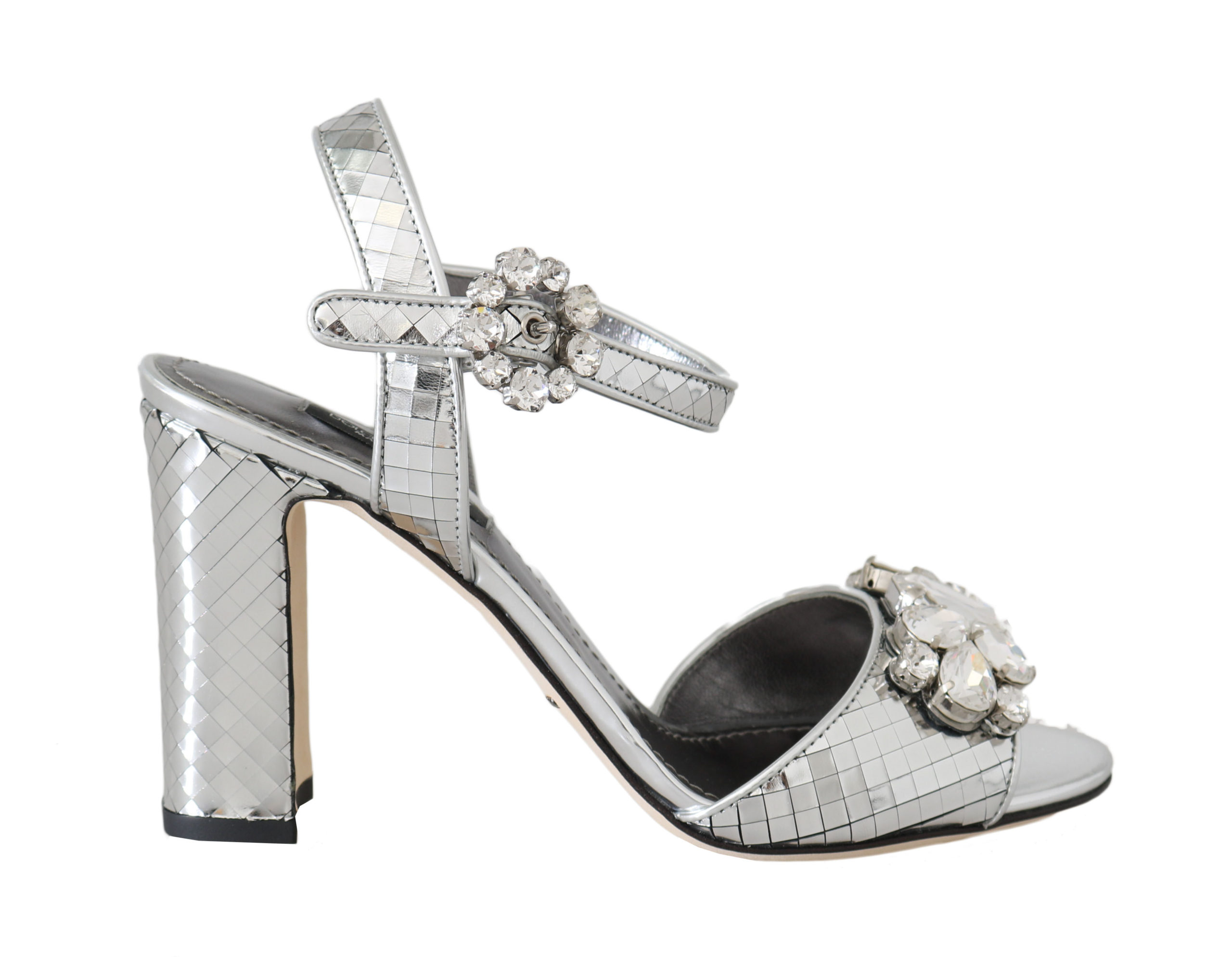 united states professional sale exquisite design Silver Mirrored Crystal Leather Sandals
