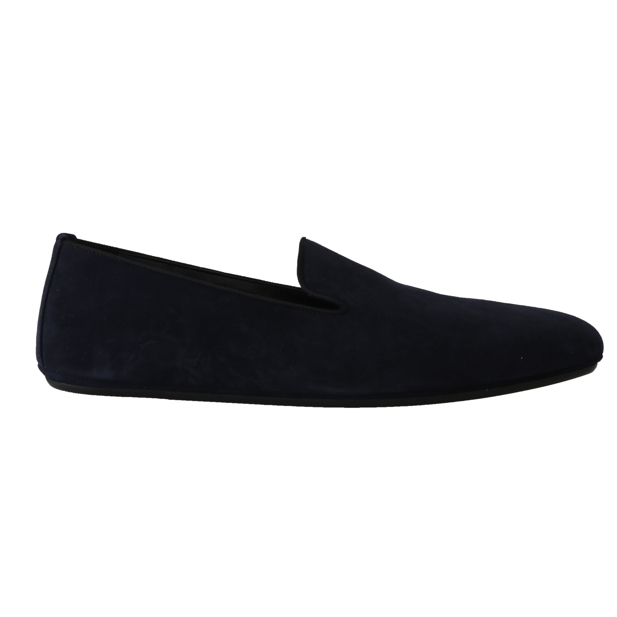 new product new cheap details for Navy Blue Suede Slides Flats Loafers
