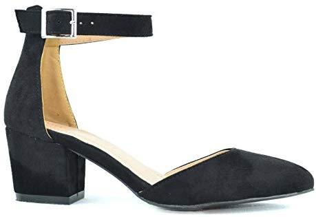 Chase & Chloe Jason-1 Pointy Toe Chunky Heel Women's D'Orsay Pump Shoes