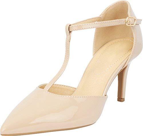 City Classified Comfort Women's Pointy Toe T-Strap Mid Heel Pump