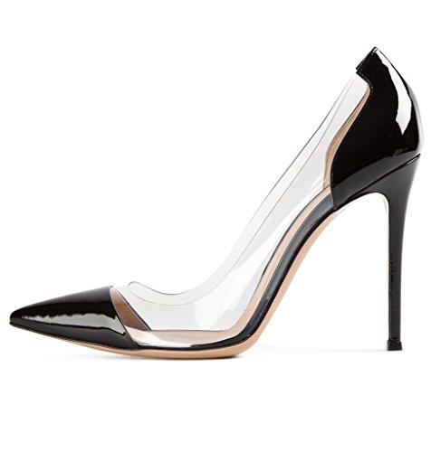 Eldof Womens High Heel PVC Pumps | 10cm Pointed Cap Toe Transparent PVC Stilettos | Wedding Dress Event Pumps Shoes