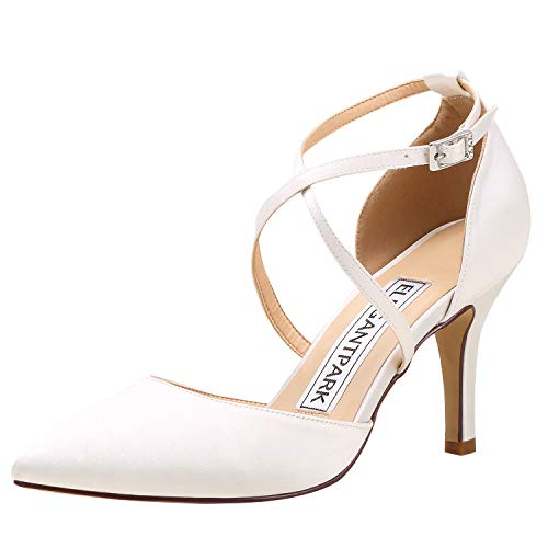 ElegantPark HC1901 Women Pointed Toe High Heel Pumps Straps Satin Wedding Bridal Evening Party Dress Shoes