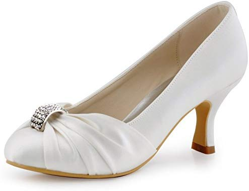 ElegantPark Women Pumps Mid Heel Closed Toe Brooch Ruched Satin Evening Prom Wedding Shoes