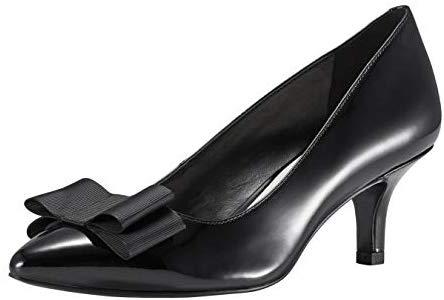 JENN ARDOR Women's Low Kitten Heel Pumps Pointed Closed Toe Slip On Bowknot Dress Party Wedding Shoes