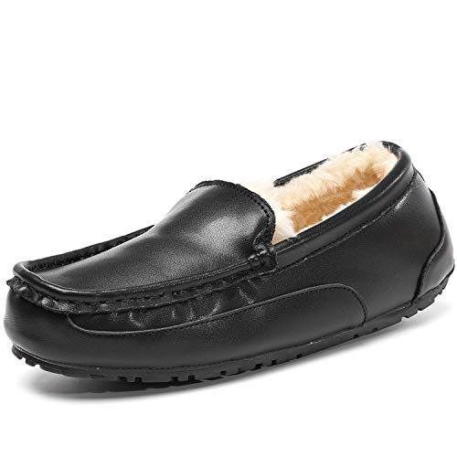 Mens Moccasin Slippers, Genuine Leather Suede Indoor Outdoor Anti-Slip Loafers Slip on House Shoes