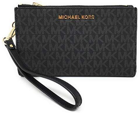 Michael Kors Jet Set Travel Double Zip Wristlet - Signature PVC (Black with Gold Hardware)