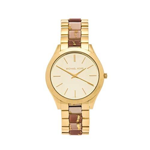 Michael Kors Watches Slim Runway Three Hand Stainless Steel Watch (Gold/White)