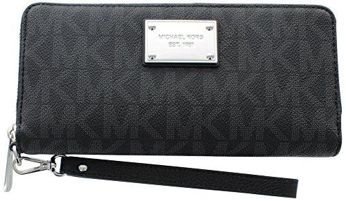 Michael Kors Women's Jet Set Travel Logo Continental Leather Wallet Baguette