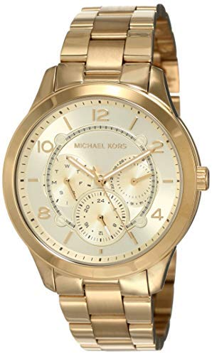 Michael Kors Women's Runway Quartz Watch with Stainless-Steel-Plated Strap, Gold