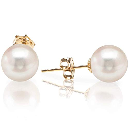 PAVOI 14K Yellow Gold AAA+ Handpicked Round Freshwater Cultured White Pearl Earring | Pearl Earrings for Women - 5mm
