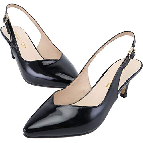 ROMANTIC ROAD Heels for Women,Kitten Low Stiletto Heels Pumps Pointed Toe Slingback Slip On Dress Sandals