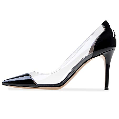 Sammitop Women's 80mm Pointed Toe Transparent Pumps Clear PVC High Heels Dress Shoes