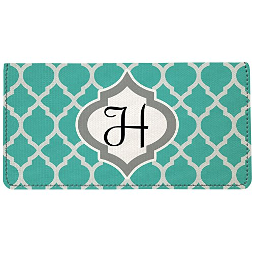 Snaptotes Personalized Monogram Teal Moroccan Checkbook Cover