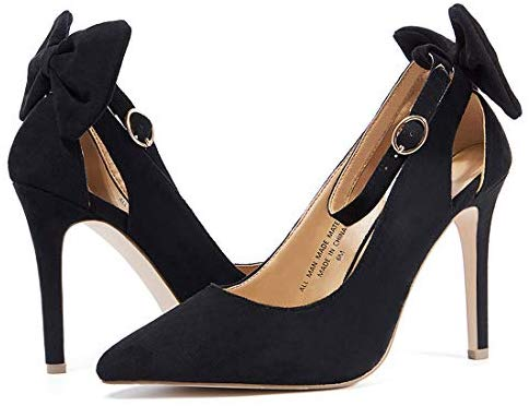 VANDIMI High Heels for Women Stiletto Pointed Toe Pumps Bowtie Back Ankle Buckle Strap Cut Out Party Dress Shoes
