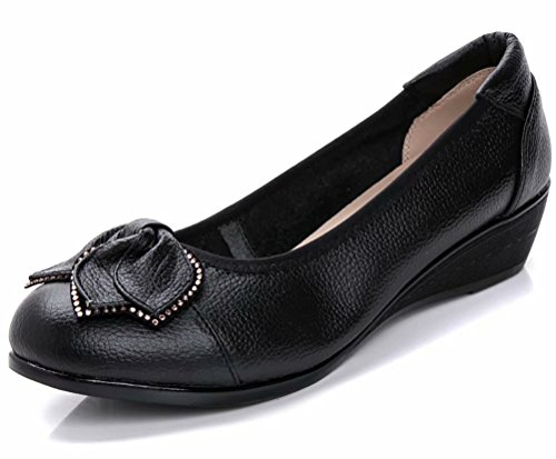 Women's Genuine Leather Comfort Low-Heeled Wedge Pump US Size 9 Black