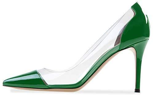 YODEKS Women's Cap Toe Pumps 85mm High Heel Transparent Shoes Stiletto Dress Pumps