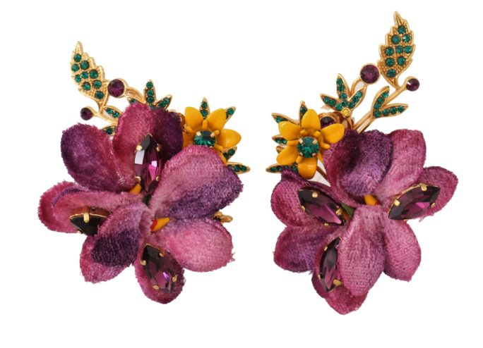 Fiori 94.Dolce Gabbana Gold Crystal Floral Mix Fiori Clipon Earrings
