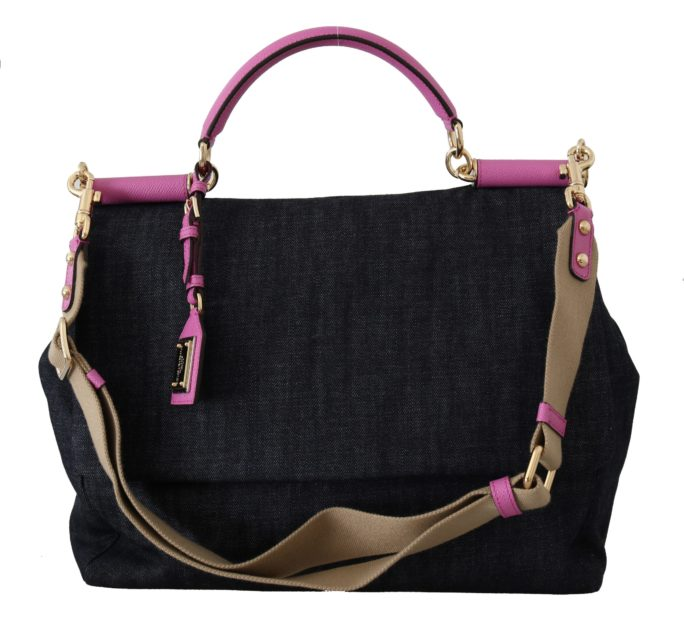 632032 Blue And Pink Denim Canvas Hand Shoulder Bag.jpg
