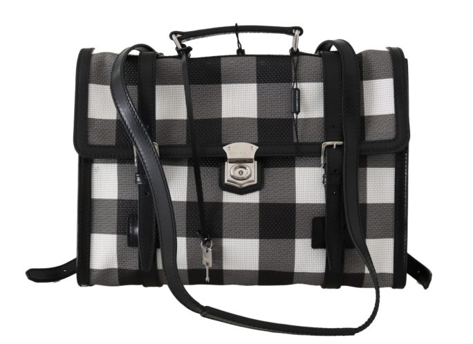 632057 Black White Mesh Leather Laptop Mens Bag.jpg