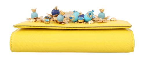 632100 Yellow Sicily Von Crystal Embellished Leather Purse 3.jpg