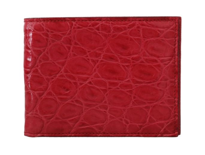 632164 Red Caiman Alligator Cardholder Bifold Mens Wallet 2.jpg