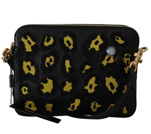 632198 Black Yellow Leopard Shoulder Purse 3.jpg