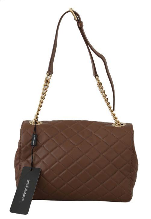 632253 Brown Quilted Leather Hand Shoulder Satchel Purse 1.jpg