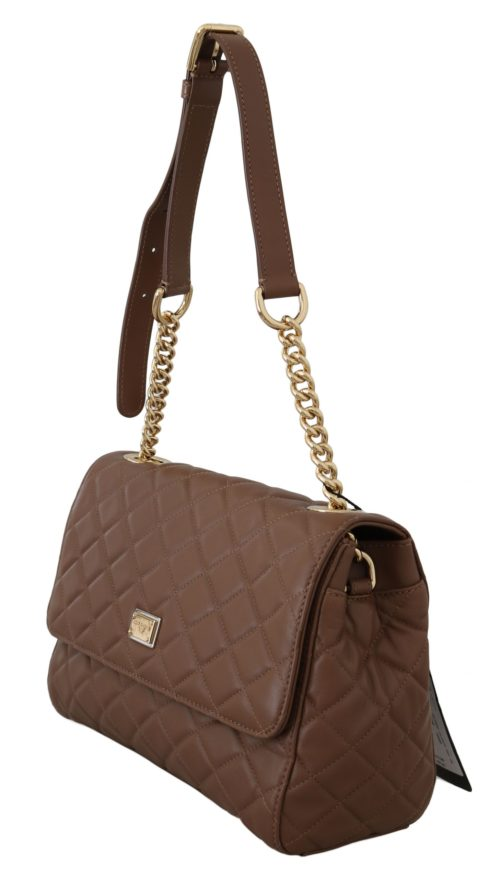 632253 Brown Quilted Leather Hand Shoulder Satchel Purse 3.jpg
