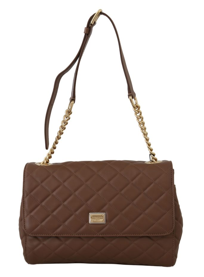 632253 Brown Quilted Leather Hand Shoulder Satchel Purse.jpg