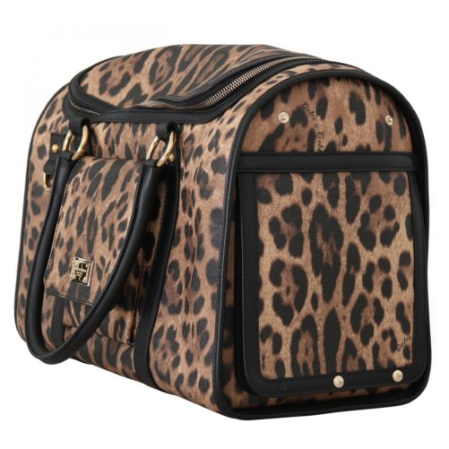 632284 Black Brown Leopard Canvas Shoulder Pet Bag 1.jpg