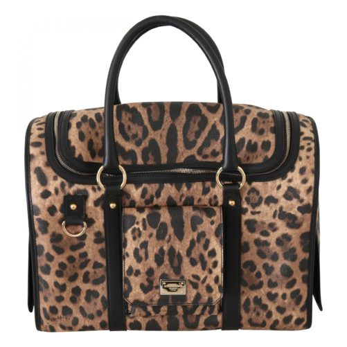 632284 Black Brown Leopard Canvas Shoulder Pet Bag 2.jpg