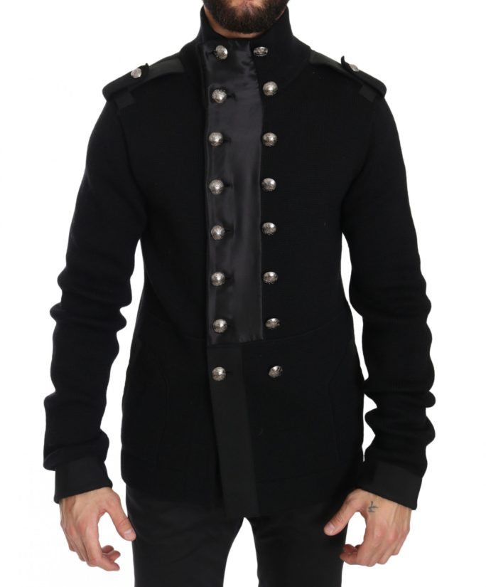 632586 Black Wool Knitted Dg Logo Jacket.jpg