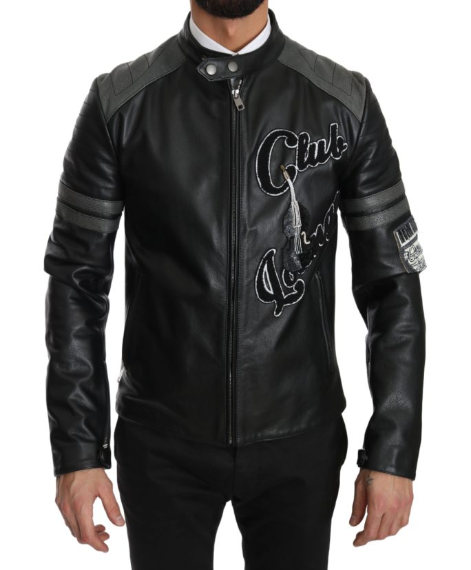 632687 Black Leather Bullskin Club Bomber Jacket.jpg