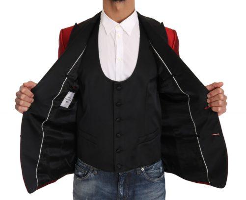 632889 Red Black Silk 2 Piece Vest Blazer 1.jpg