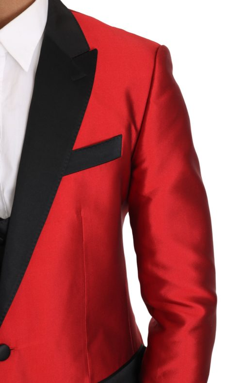 632889 Red Black Silk 2 Piece Vest Blazer 2.jpg
