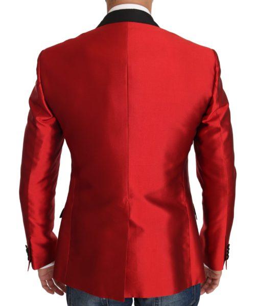 632889 Red Black Silk 2 Piece Vest Blazer 4.jpg
