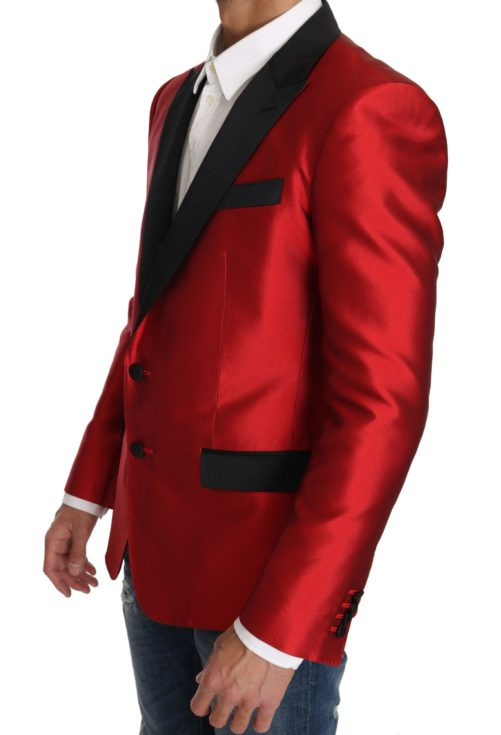 632889 Red Black Silk 2 Piece Vest Blazer 5.jpg