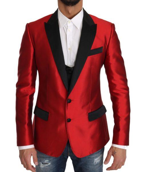 632889 Red Black Silk 2 Piece Vest Blazer.jpg