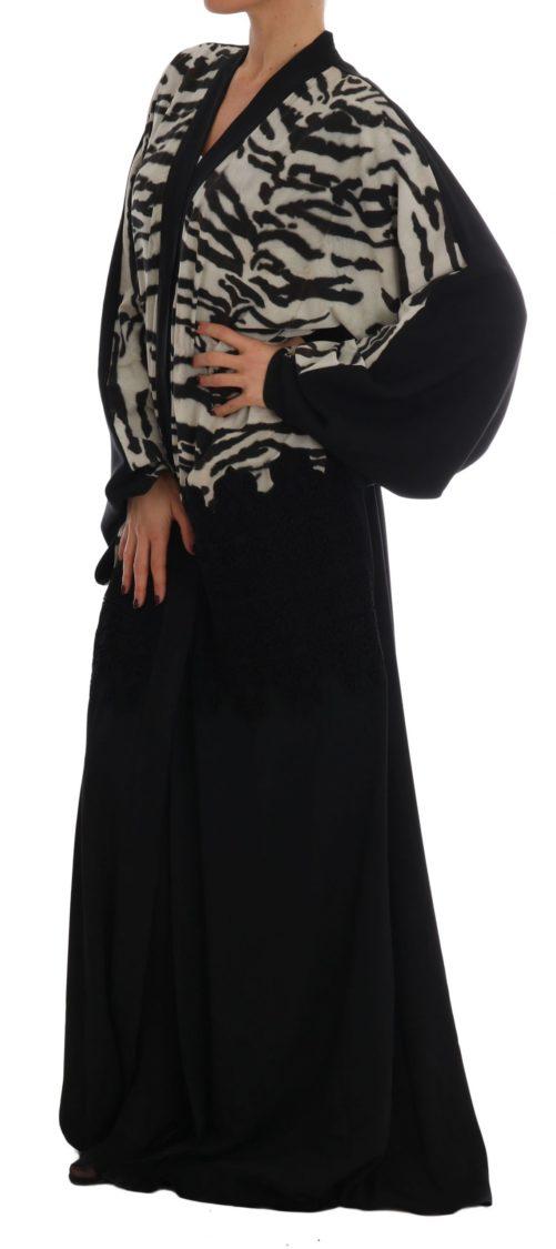 633040 Black Zebra Kaftan Abaya Cape Silk Dress 2 1.jpg