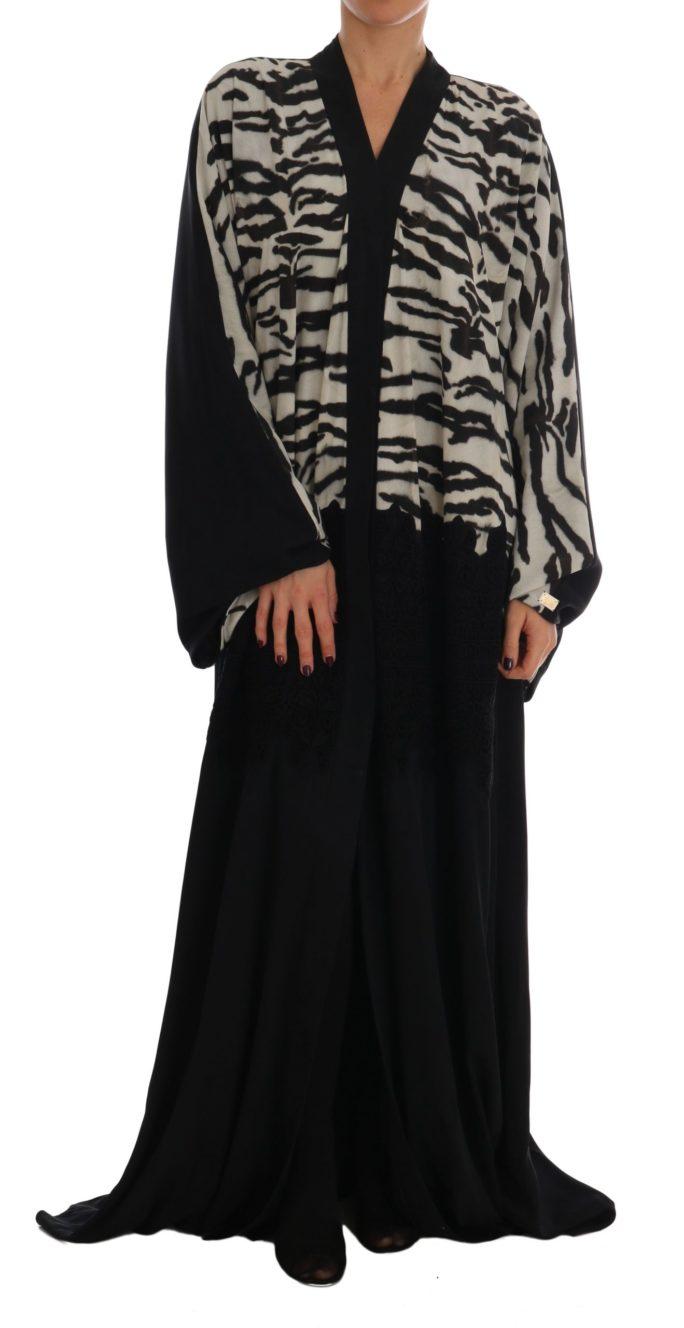 633040 Black Zebra Kaftan Abaya Cape Silk Dress 6.jpg
