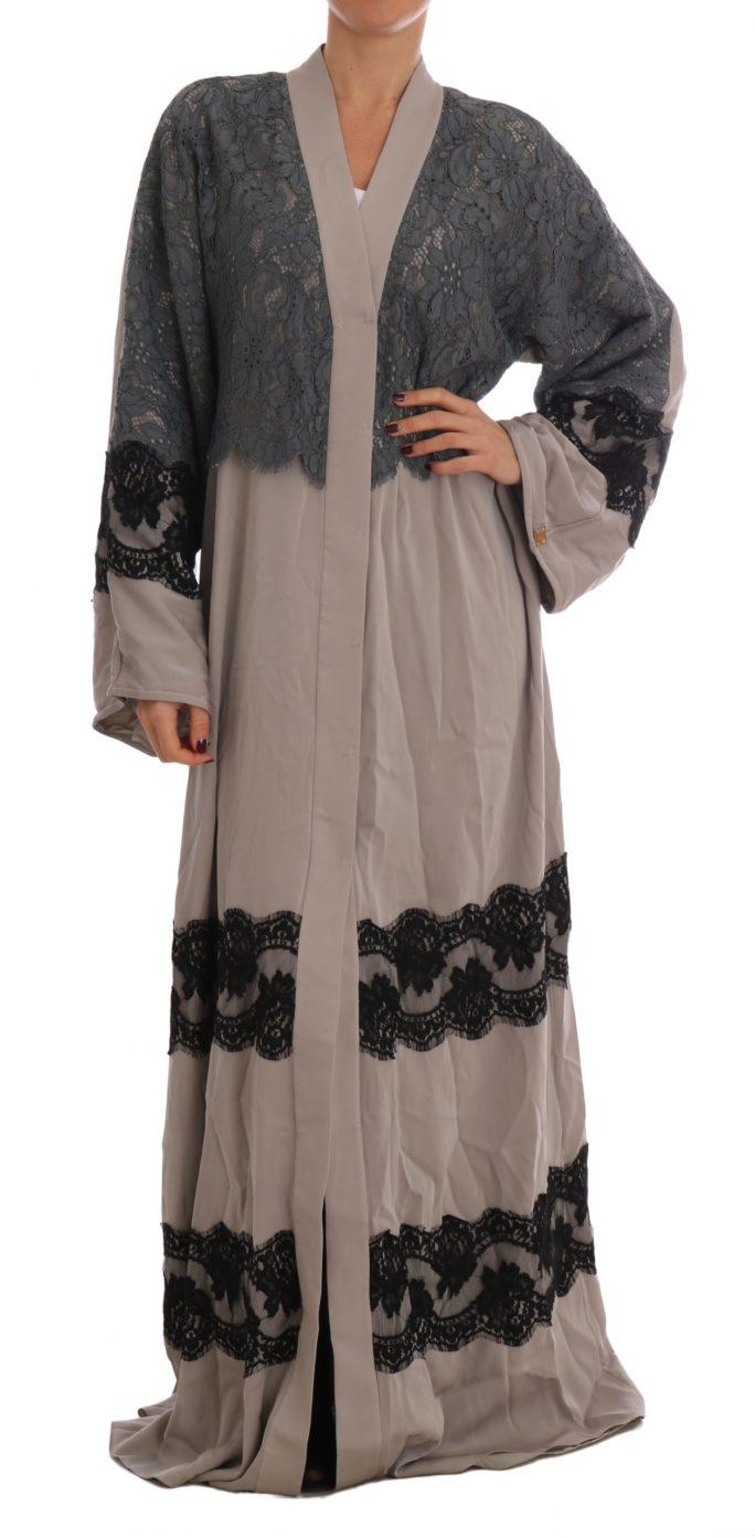634814 Gray Floral Applique Lace Kaftan Dress 2.jpg