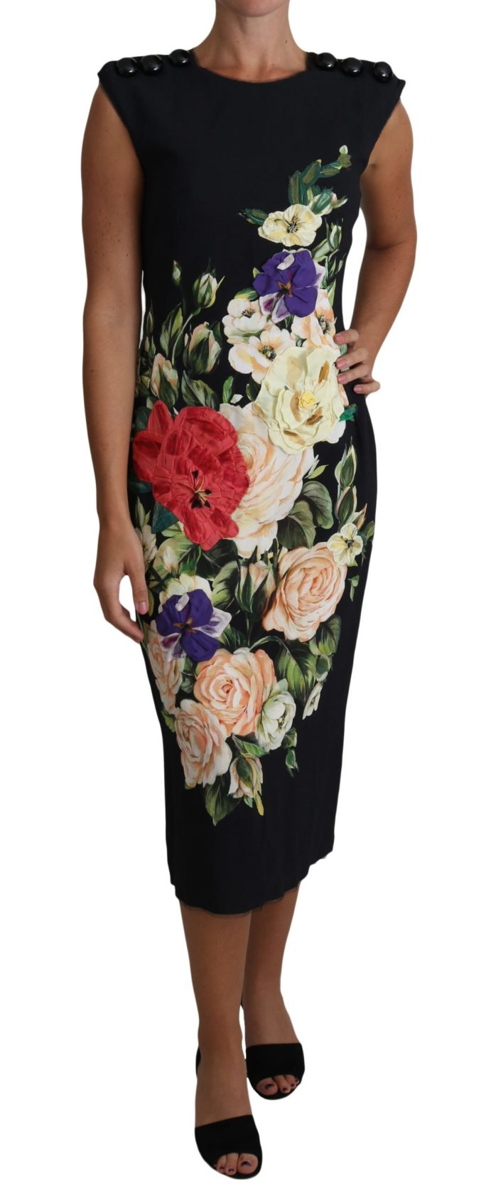 634921 Floral Print Viscose Midi Gown Buttons Dress.jpg