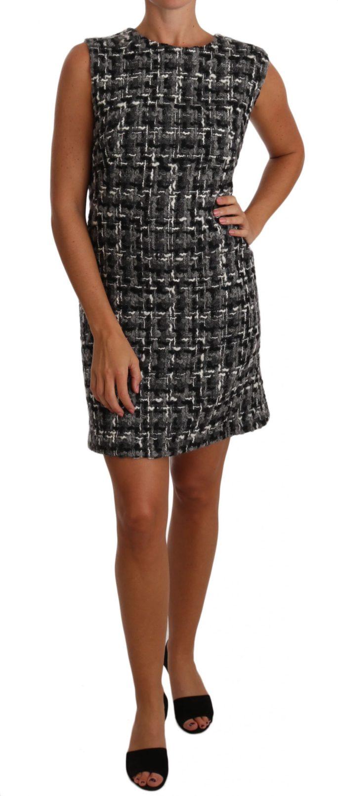 635264 Gray Mini Shift Checkered Check Dress.jpg