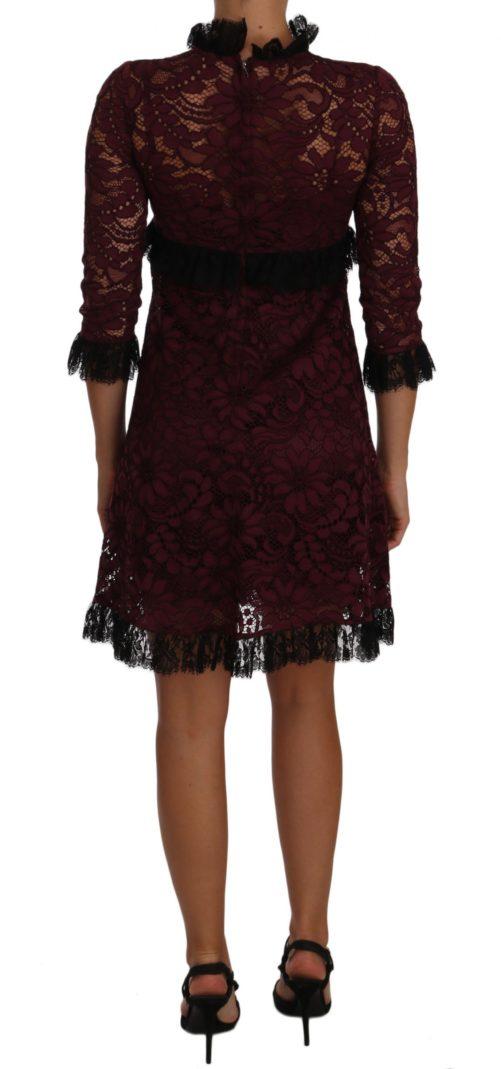 635351 Black Floral Lace Burgundy Gown Mock Collar Dress 1.jpg