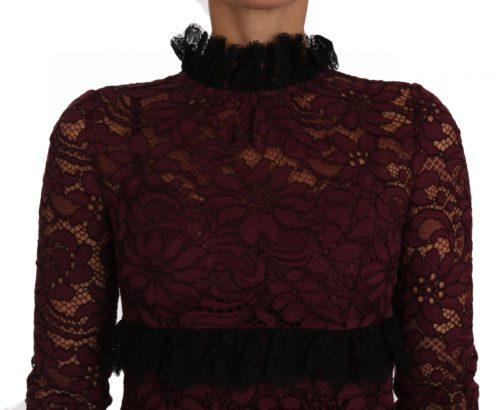 635351 Black Floral Lace Burgundy Gown Mock Collar Dress 2.jpg