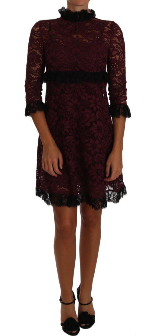 635351 Black Floral Lace Burgundy Gown Mock Collar Dress.jpg