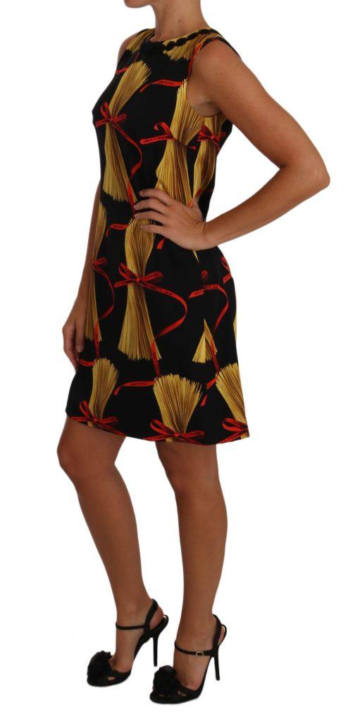 635502 Black Silk Mini Shift Pasta Print Dress 1.jpg