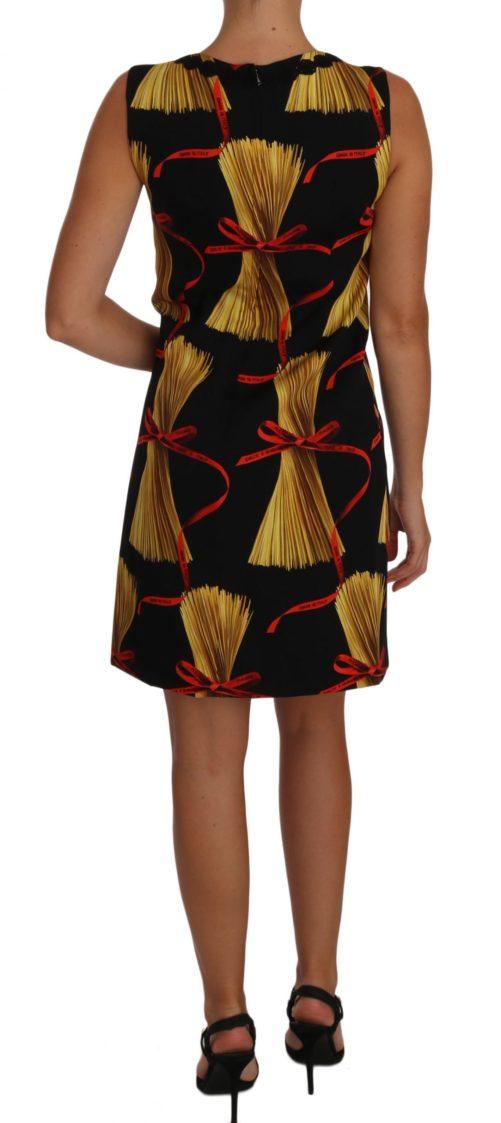 635502 Black Silk Mini Shift Pasta Print Dress 2.jpg