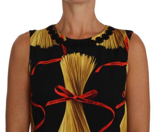 635502 Black Silk Mini Shift Pasta Print Dress 3.jpg