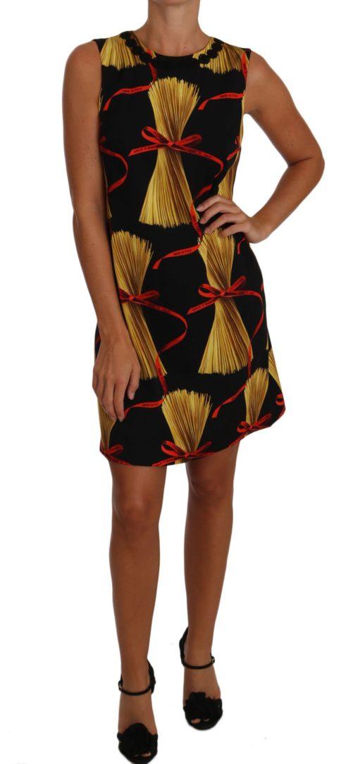 635502 Black Silk Mini Shift Pasta Print Dress.jpg